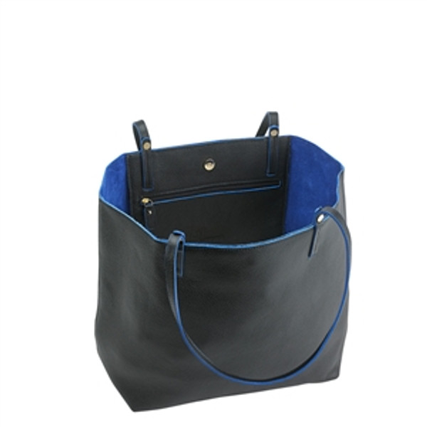 Black Leather Tote w/ indigo Interior