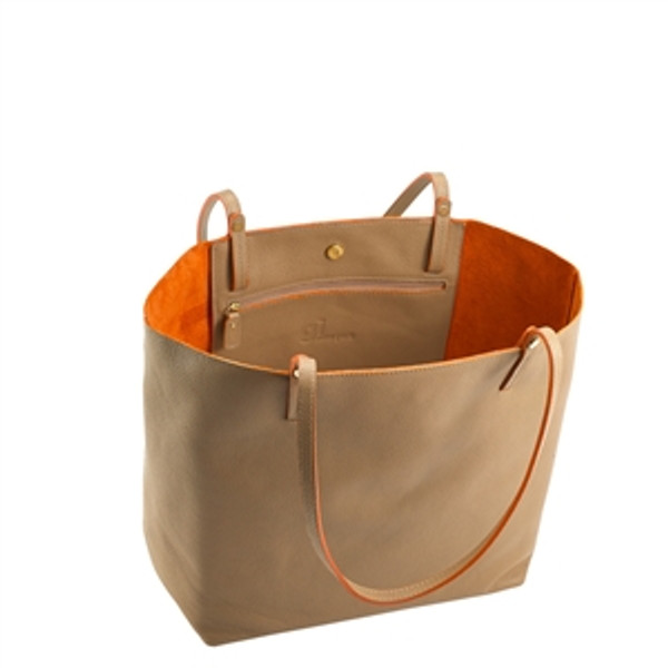 Sand Leather Tote w/orange Interior