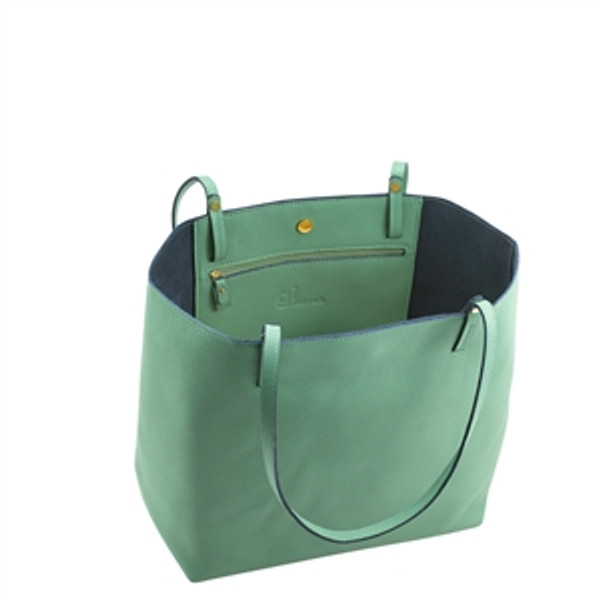 Sea Green Leather Tote w/ navy Interior