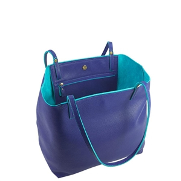 Indigo Leather Tote w/ turquoise Interior