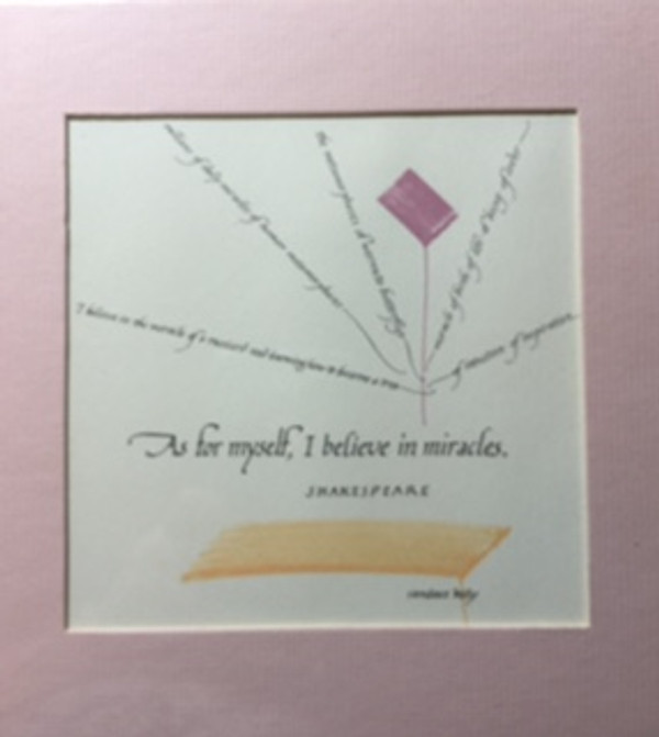 """""""As for myself i believe in miracle"""" Shakespeare 8 x 8"""" Hand water colored, lithograph"""
