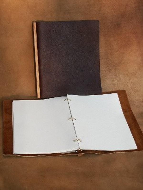 "Recycled 9 x 12"" Refillable journal without tiein Dark Chocolate Brown"