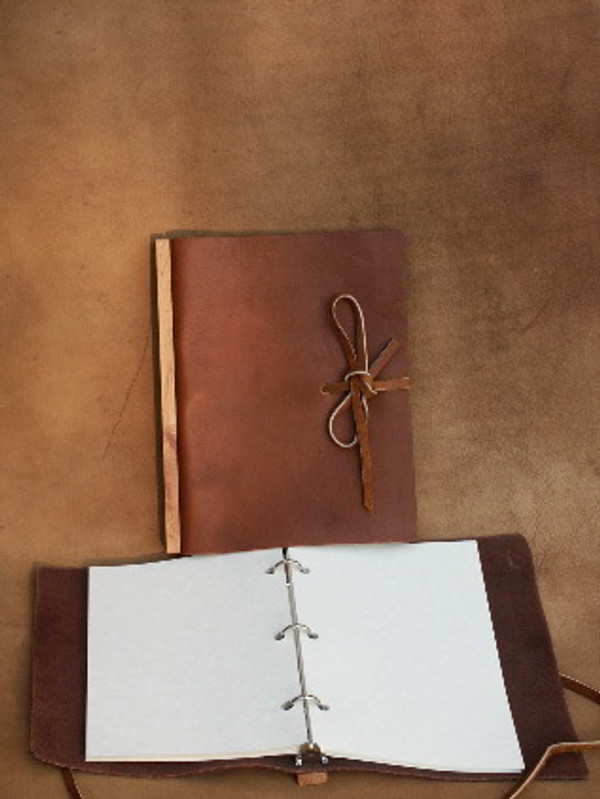 "Recycled 9 x 12"" Refillable journal with lanyard tie in Chestnut Brown"