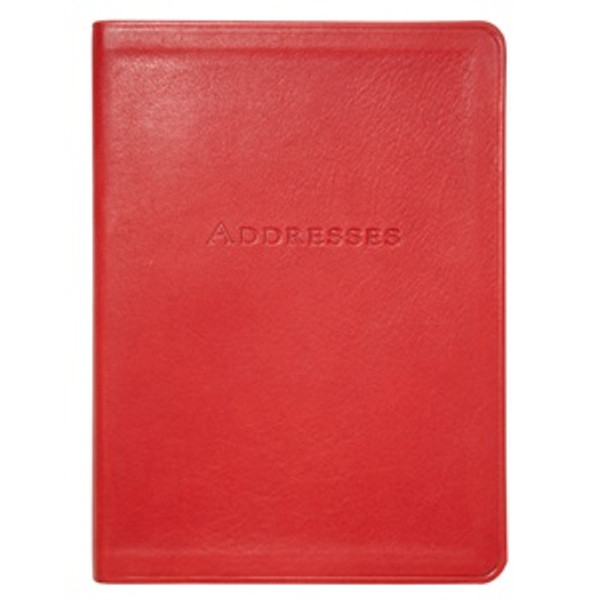 """Red Leather Bound Address Book 5"""" x 7"""""""