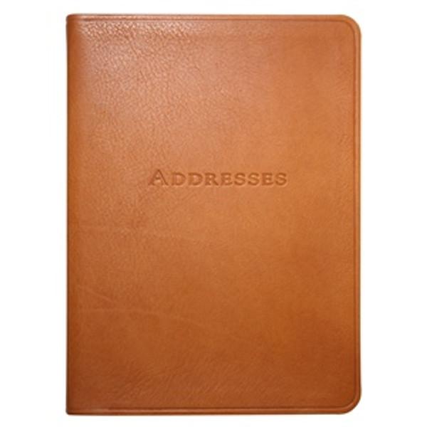 "British Tan Leather Bound Address Book 5"" x 7"""