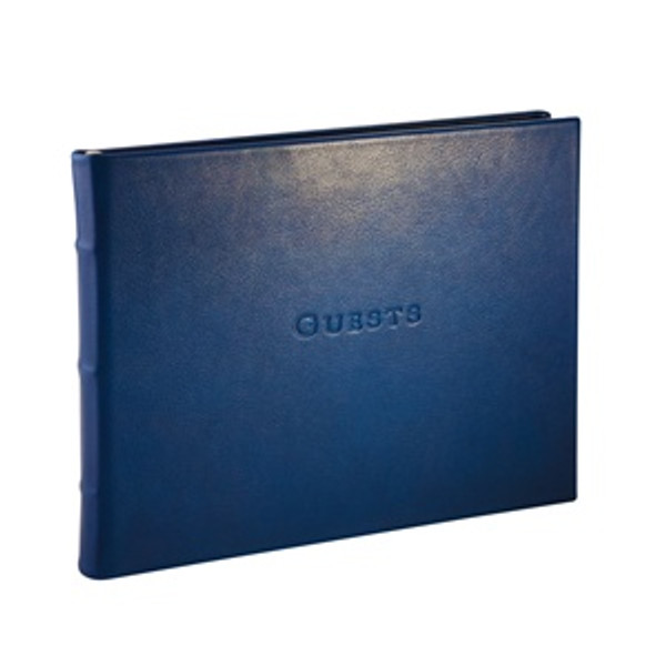 Traditional Blue Leather Guest Book