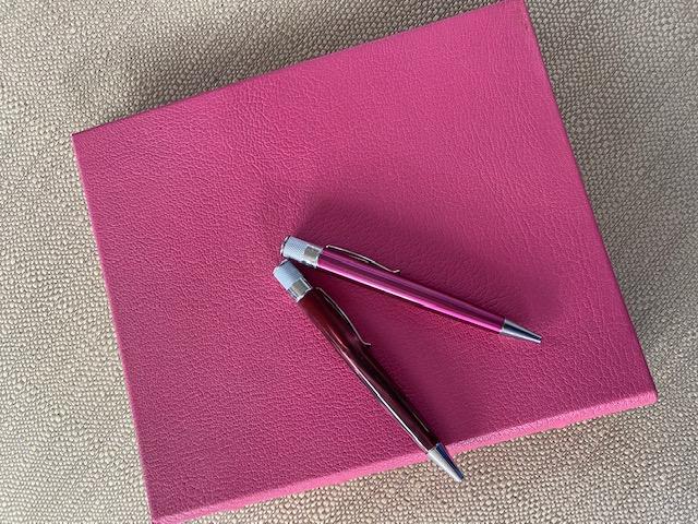 pinkringboundalbumwithretropens.jpg