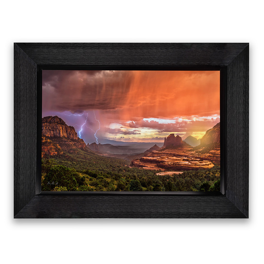 Metal print with Grand shadow frame, front view. Landscape photography by Guy Schmickle.