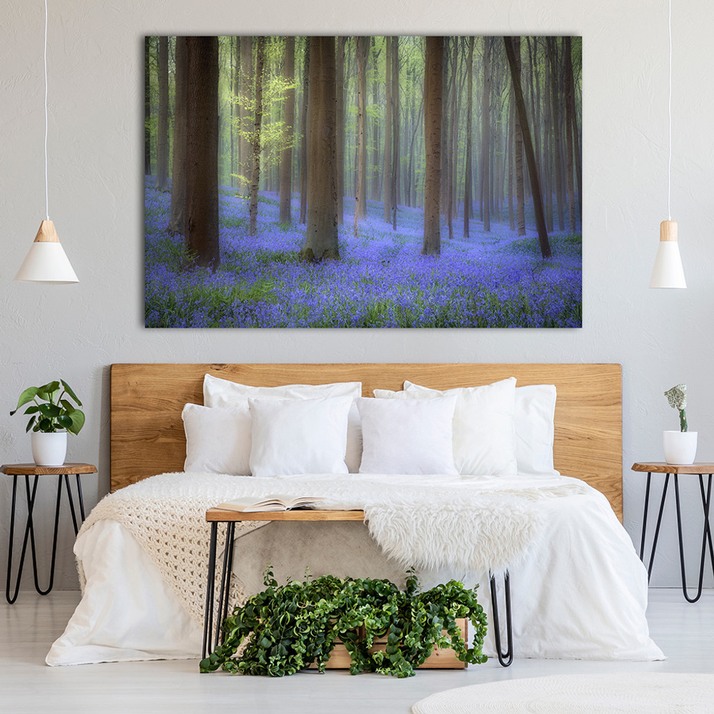 Metal print with black Euro Frame, superimposed in bedroom. Landscape photography by: Fred Mertz Photography
