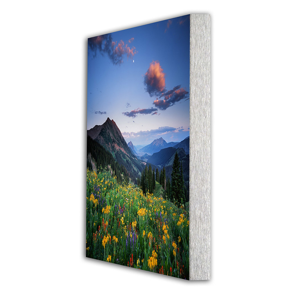 Metal print with Silver Euro Frame, angled view. Landscape photography by Raynor Czerwinski.