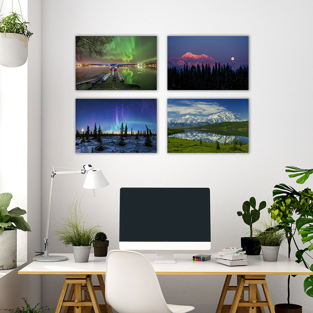 5x5 metal prints with hangers example on wall