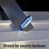 Wrench for security hardware.