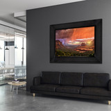 Metal print with Grand shadow frame, superimposed in office. Landscape photography by Guy Schmickle.