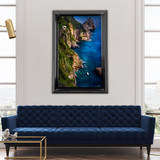 Metal print with black Bevel Frame made of brushed anodized aluminum, superimposed in living room. Landscape photography by Scanlan Windows to the World.