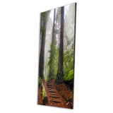 Metal print with black Floating Frame made of brushed anodized aluminum, angled view. Landscape photography by Tim Lutz.