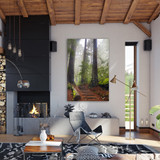 Metal print with black Floating Frame made of brushed anodized aluminum, superimposed in rustic modern cabin. Landscape photography by Tim Lutz.
