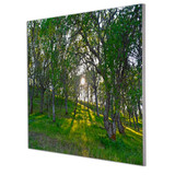 Metal print with silver Floating Frame made of brushed anodized aluminum, angled view. Landscape photography by Nick Orpin-Wilkes.