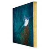 Metal print with Gold Euro Frame of brushed anodized aluminum, angled view. Aerial drone photography by Latitudes Fine Art.