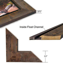 Yosemite Wood Frame with inset float. Dimensions.