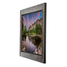 Metal print with Yosemite wood frame, angled view. Landscape photography of Half Dome Yosemite by Paul Brewer.