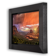 Metal print with Grand shadow frame, angled view. Landscape photography by Guy Schmickle.