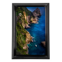 Metal print with black Bevel Frame made of brushed anodized aluminum, front view. Landscape photography by Scanlan Windows to the World.