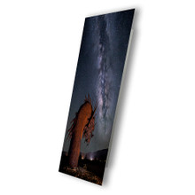 Metal print with Silver Gallery, recessed frame, angled view. Landscape night Milky Way Galaxy photography by Tenay Thirty-Two.