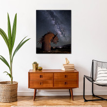 Metal print with Silver Gallery, recessed frame, superimposed on wall with mid-century furniture. Landscape night Milky Way Galaxy photography by Tenay Thirty-Two.