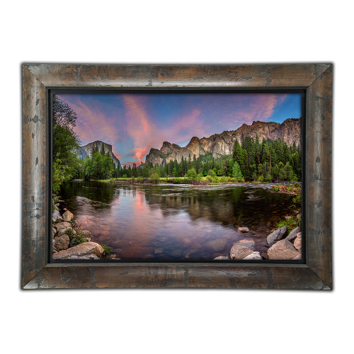 Metal print with Yosemite wood frame, front view. Landscape photography of Half Dome Yosemite by Paul Brewer.