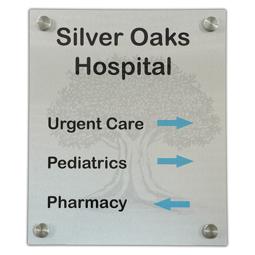 Metal Sign with standoffs, front view. Silver gloss metal finish. Silver Oaks Hospital sign.