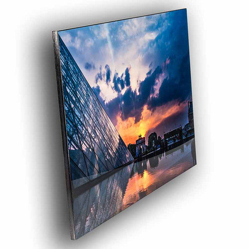 Metal print with black Floating Frame made of brushed anodized aluminum, angled view. Paris, France. City landscape photography by Tim Lutz.