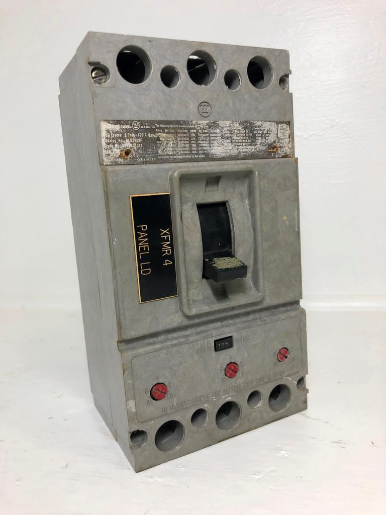 Westinghouse HLB3400F 400A Circuit Breaker w/ 125 Amp Trip 480/600V 3P HLB3125 (EM3768-3)