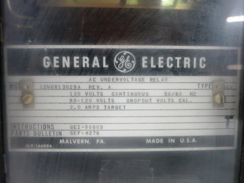 GE 12NGV13B29A AC Undervoltage Relay Type NGV 120V 60Hz 2.0A General Electric (DW1772-2)