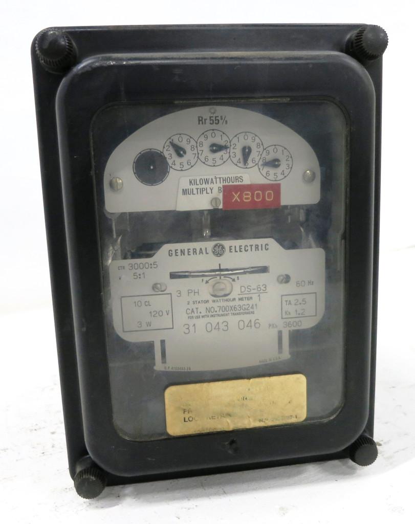GE 700X63G241 2 Stator Watthour Meter Relay 3PH DS-63 Watt Hour 3000:5 5:1 120V (DW1771-2)
