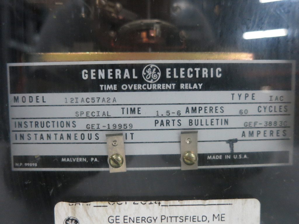 GE 12IAC57A2A Time Overcurrent Relay Type IAC 60Hz 1.5-6A General Electric (DW1770-2)