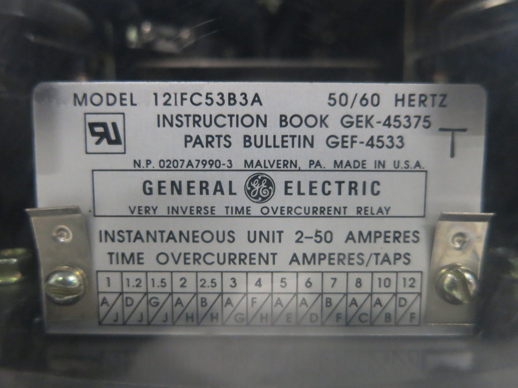 GE 12IFC53B3A Very Inverse Time Overcurrent Relay 50/60Hz 2-50A General Electric (DW1769-6)