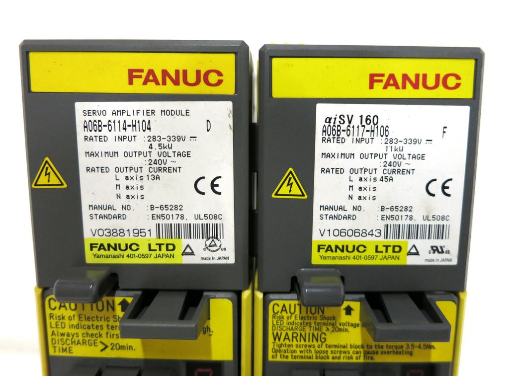 GE Fanuc A06B-6177-H106 + A06B-6114-H104 Servo Amplifier aiSV 160 Module PLC (DW3801-1)