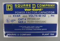 Square D Var-Gard 10 kVAR 480V 60Hz PFC4010F Power Factor Capacitor 9109-0065ABC (GA0202-1)