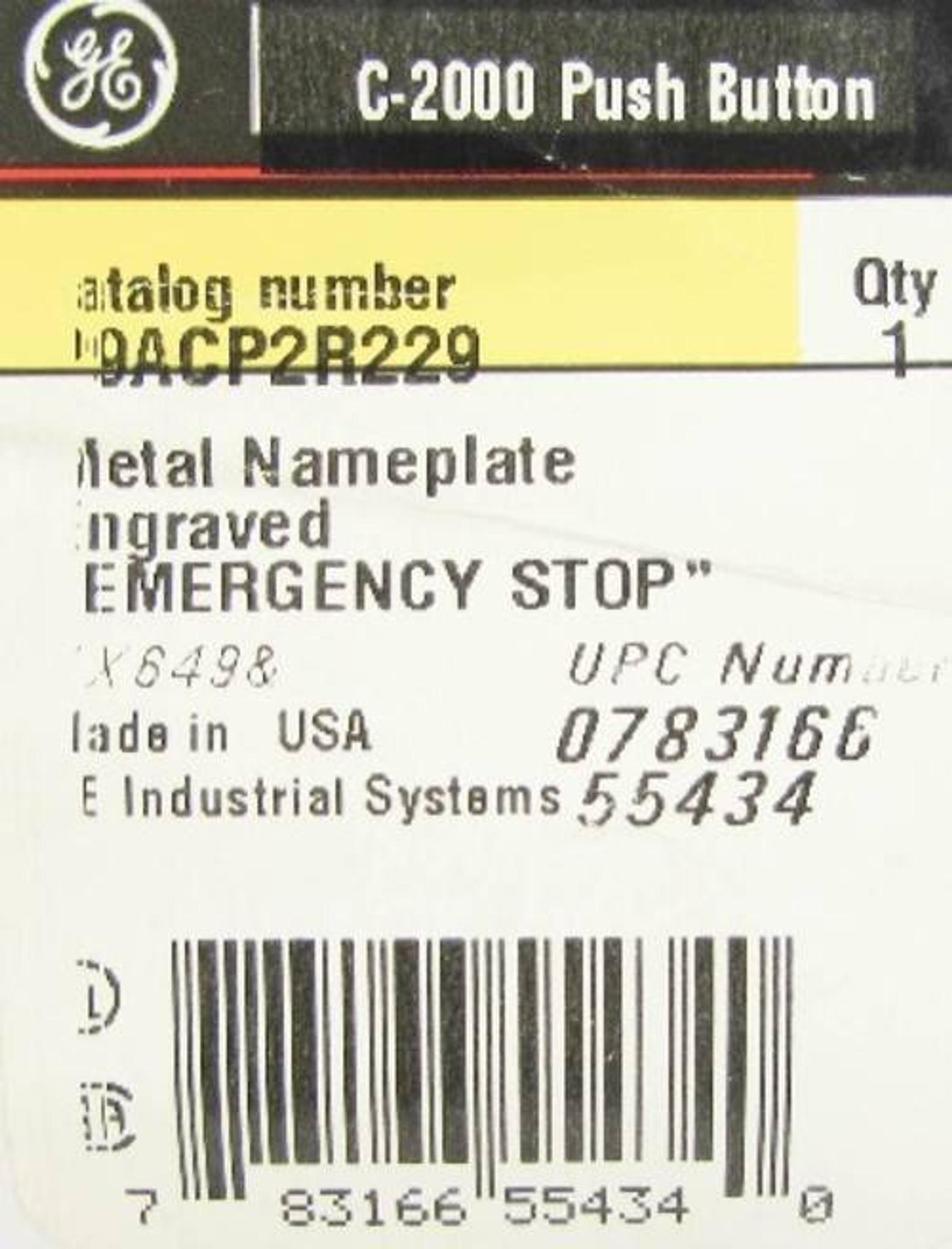 """GE P9ACP2R201 Metal /""""STOP/"""" Nameplate Engraved General Electric"""