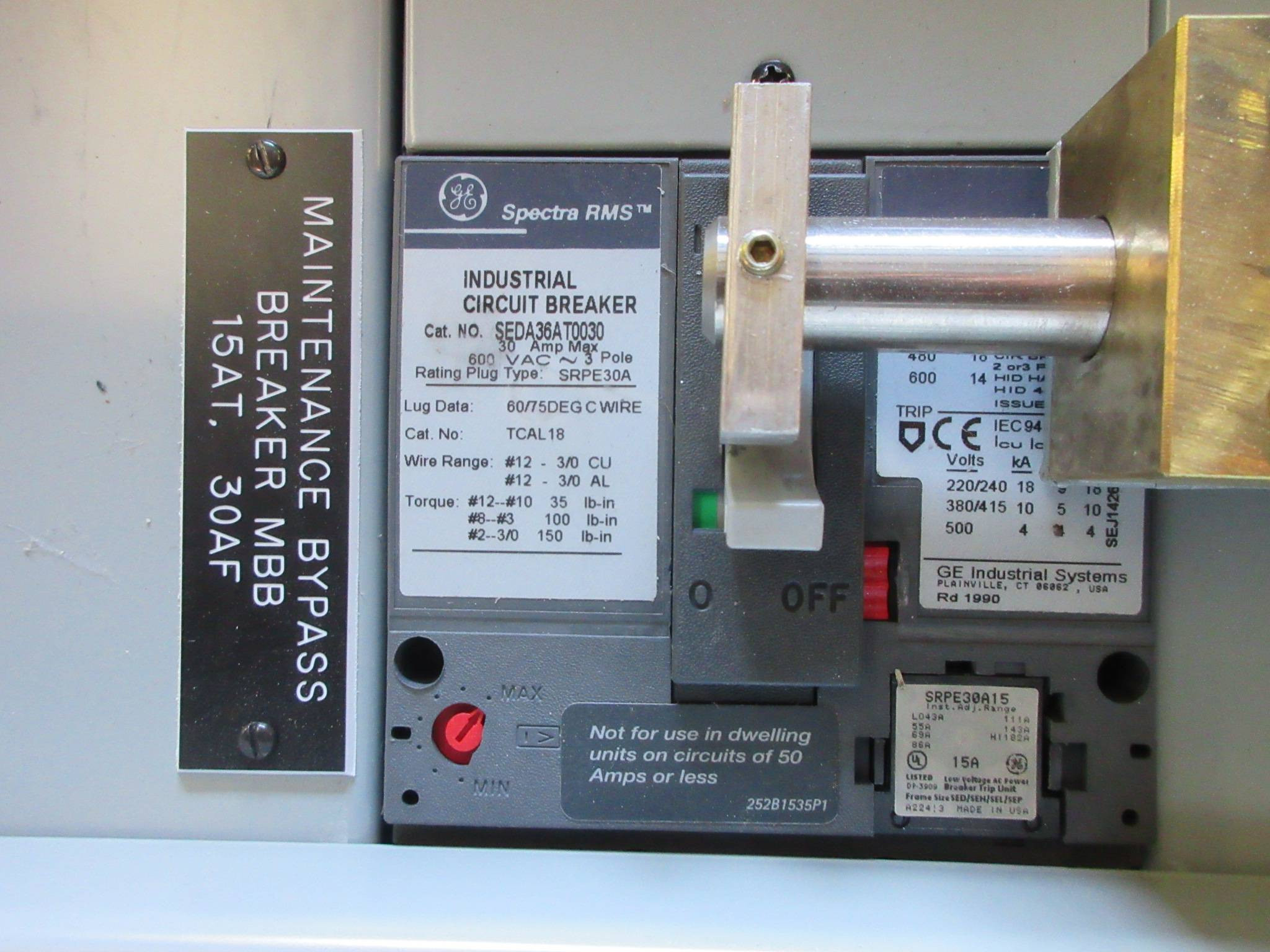 ge spectra new scp plus ups maintenance bypass panelboard 30 ampge spectra new scp plus ups maintenance bypass panelboard 30 amp 480y 277v 3p 4w (tk2697 1) river city industrial