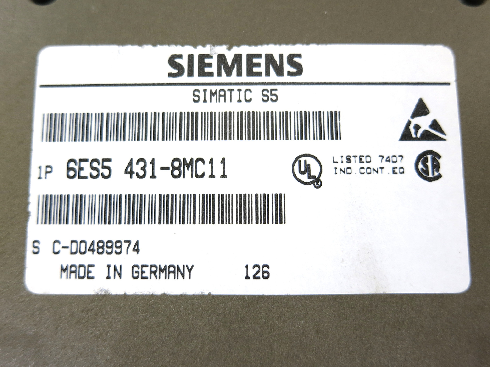 SIEMENS 6ES5 431-8MC11 DIGITAL INPUT MODULE