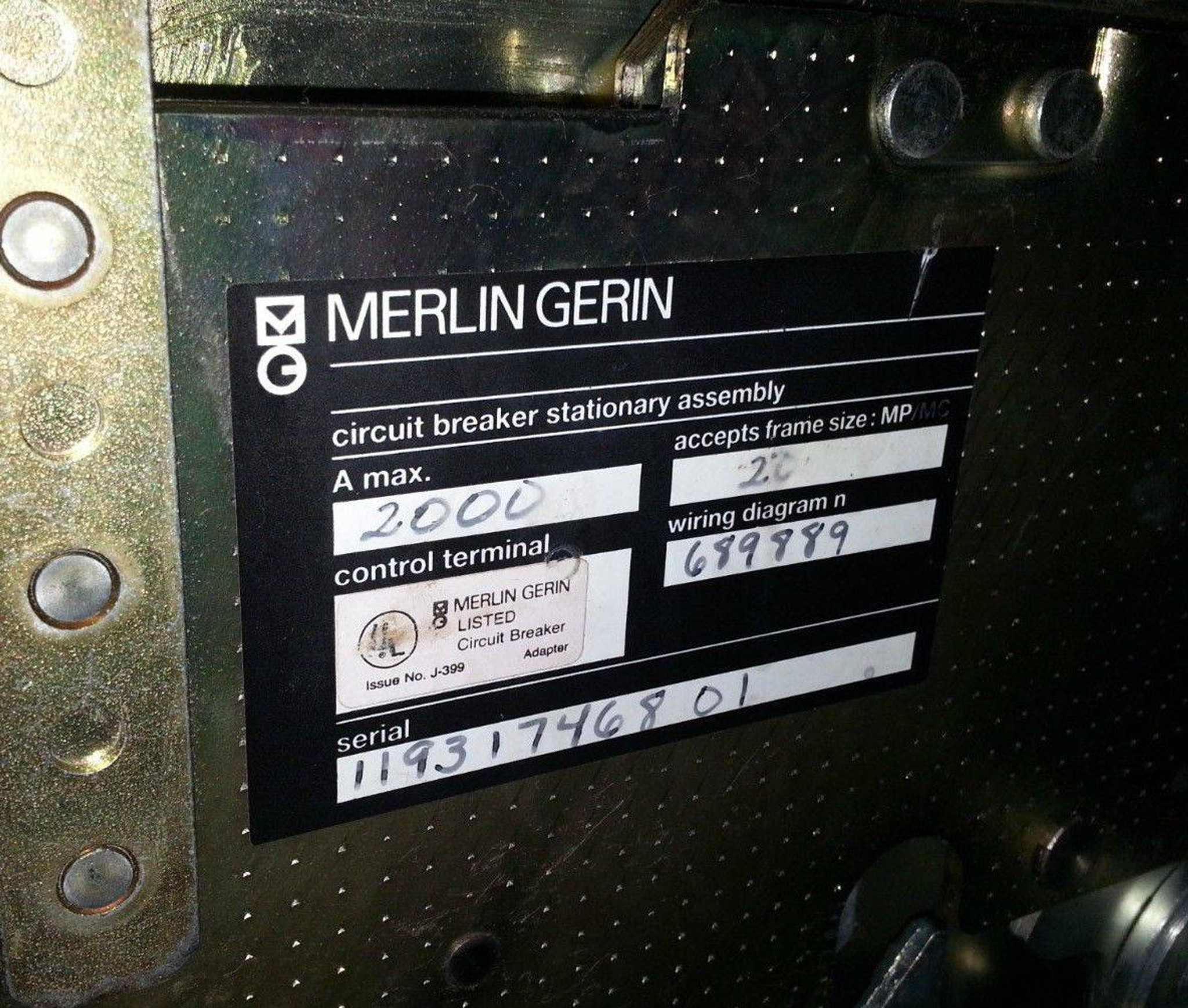 Square D MP20H2 Merlin Gerin Masterpact Draw-out Frame embly ... on square d multi 9, square d 100 amp panel template, square d sef, square d la, square d altivar, square d powerpact, square d powerlogic, square d electrical panel schedule template,