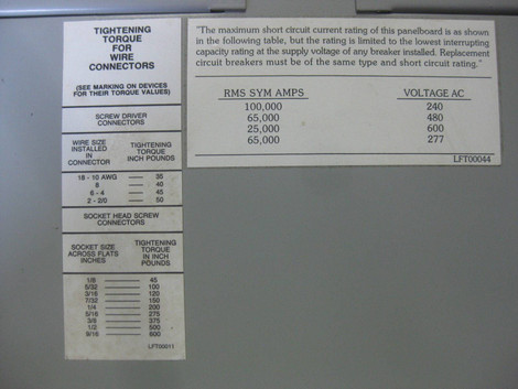 New Cutler Hammer PRL3 225A Breaker Panel 208Y/120 VAC 3P 4W MLO or on