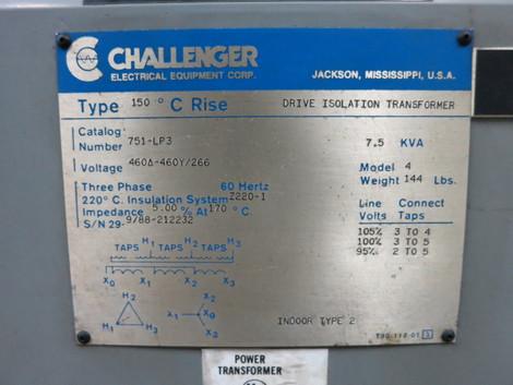 Challenger 7 5 KVA 460 to 460Y/266 V 3PH Isolation Transformer 751-LP3  7 5kVA Y (DW1355-1)