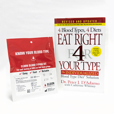 Blood Type Diet Intro Pack - At-Home Blood Typing Kit and Eat Right 4 Your Type book together at one low price