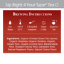 Sip Right 4 Your Type Tea O - Brewing Instructions and Ingredients