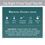 Sip Right 4 Your Type Tea AB - Brewing Instructions and Ingredients
