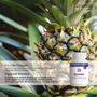 Pineapples contain enzymes in their juice and stems that we utilize in Bromelain to support digestive health and soothe inflammation.