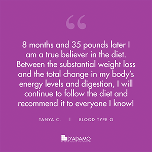 Tanya C. - Blood Type Diet Success Story
