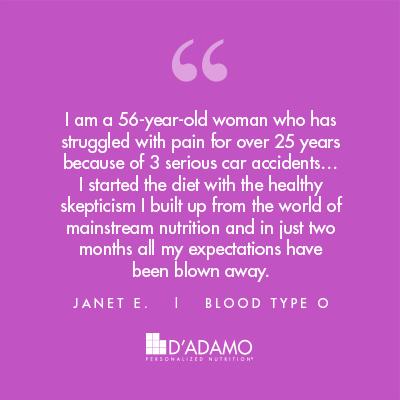 Janet E. - Blood Type Diet Success Story
